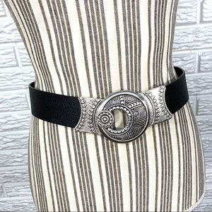 Chico's | Black Leather and Silver Belt